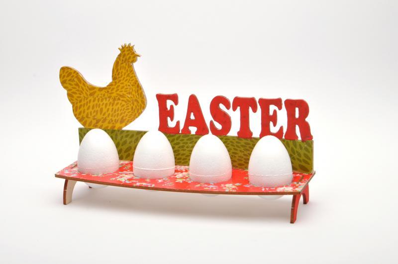 Дървен комплект поставка за яйца - Кокошка