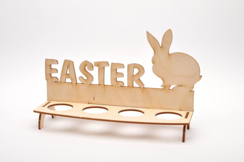 Дървен комплект поставка за яйца -Заек