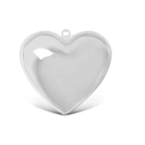 Прозрачно пластмасово сърце от две части - 10 см