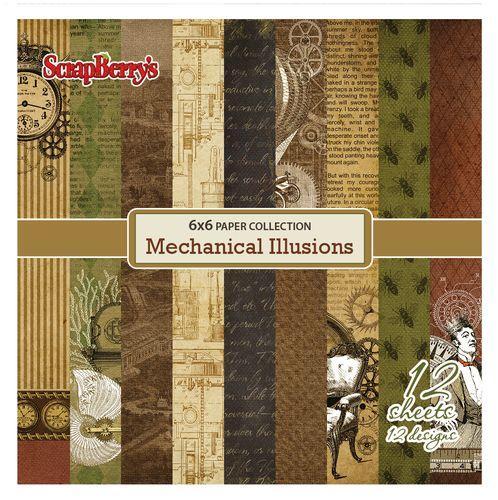 Комплект дизайнерски хартии 12 листа 6x6 inch - Mechanical Illusions
