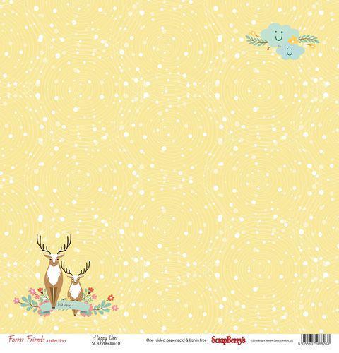 Едностранна дизайнерска хартия 190гр - Forest Friends