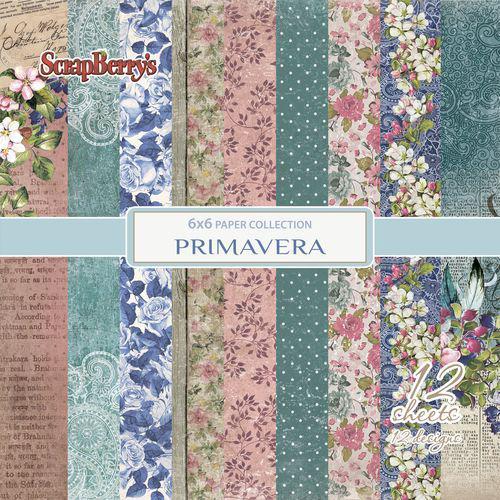 Комплект дизайнерски хартии 12 листа 6x6 inch - Primavera