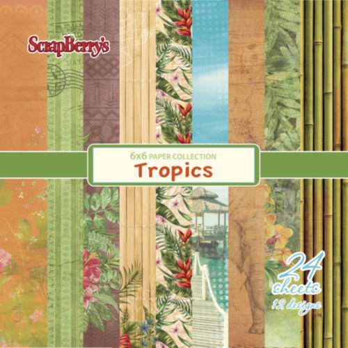 Комплект дизайнерски хартии 24 листа 6x6 inch - Tropics