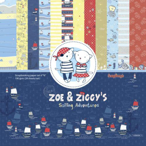 Комплект дизайнерски хартии 24 листа 6x6 inch - Zoe & Ziggy's