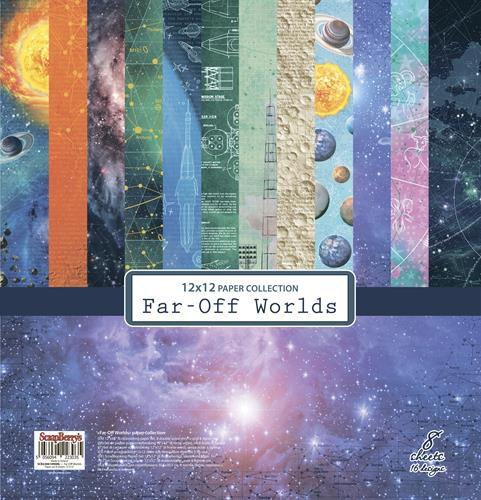 Комплект дизайнерски хартии 8 листа 12x12 inch - Far-Off Worlds