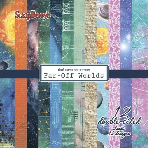 Комплект дизайнерски хартии 12 листа 6x6 inch - Far-Off Worlds
