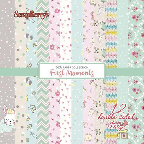 Комплект дизайнерски хартии 12 листа 6x6 inch -  First Moments