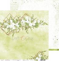 Комплект дизайнерски хартии 12x12 inch, 6 листа 190гр, с глитер - Greenery Charm
