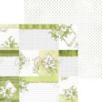 Комплект дизайнерски хартии 6x6 inch, 18 листа 190гр, с глитер - Greenery Charm