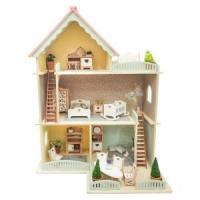 Дървена къща за кукли с обзавеждане