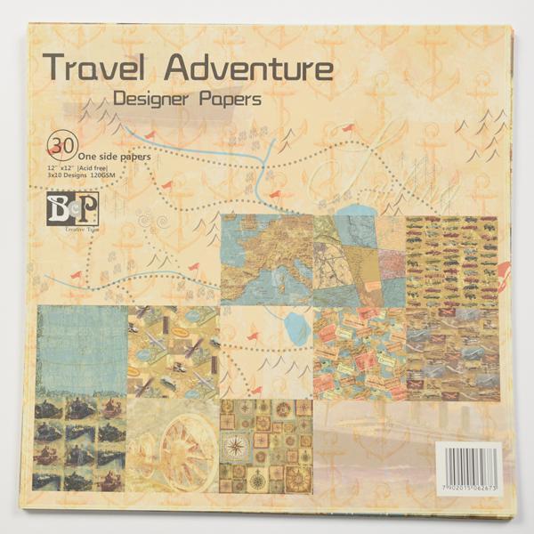 Комплект дизайнерски хартии 30 листа 12х12 in - Travel adventure