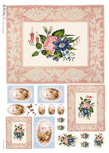 Оризова хартия за декупаж KALit, 32х45 см - цветя